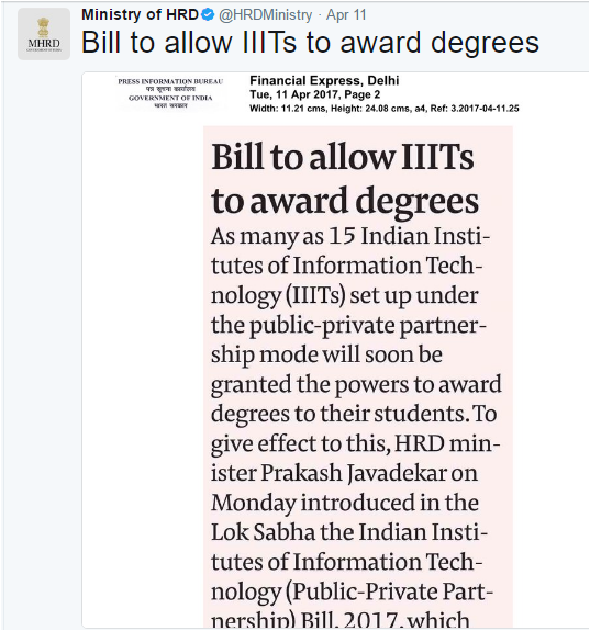 HRD Minister Prakash Javadekar introduced bill to permit 15 IIITs award degrees