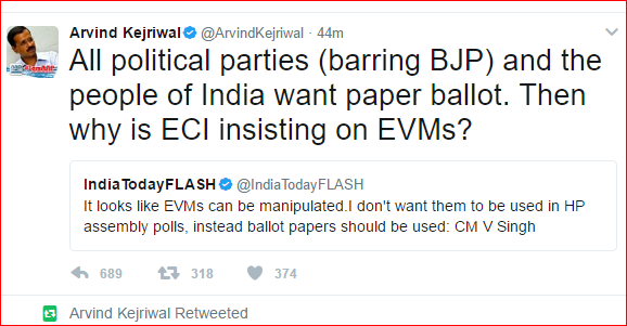Why ECI is insisting on EVM's? : Kejriwal
