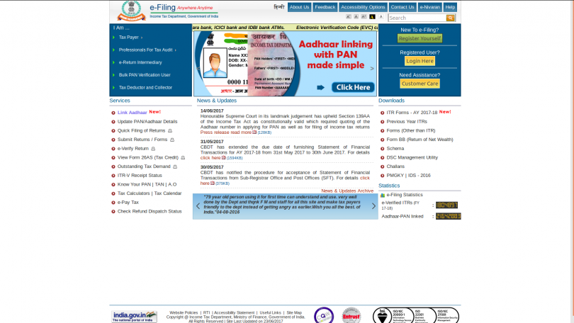 Last day to link aadhar with PAN : Income tax website incometaxindiaefiling.gov.in clogged