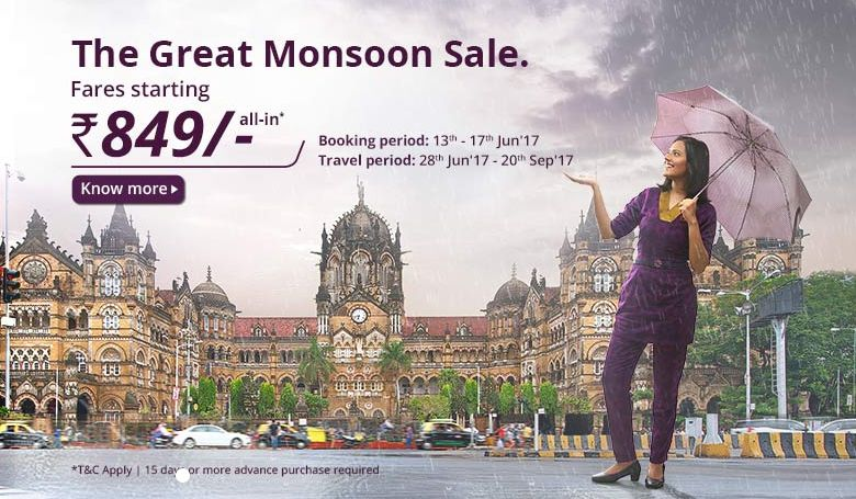 Vistara airlines online ticket for Rs 849 in monsoon sale