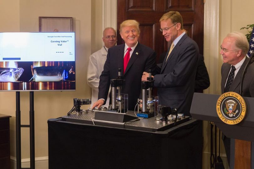 Donald Trump At White House Event, Glass Manufacturing Back To US