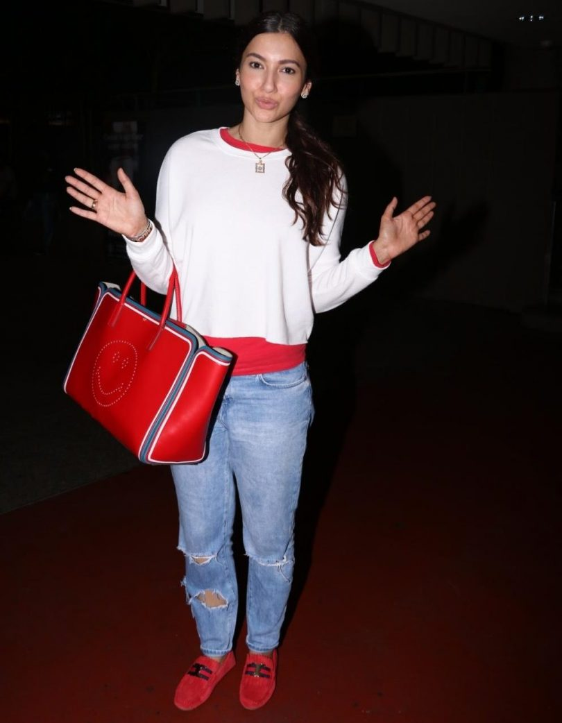 Mumbai: Actress Gauhar Khan spotted at Chhatrapati Shivaji Maharaj International Airport