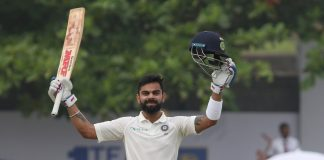 Indian captain Virat Kohli celebrates after scoring a century on Day 4 of the first test match between India and Sri Lanka at Galle International Stadium in Galle, Sri Lanka on July 28, 2017. (Photo: IANS)