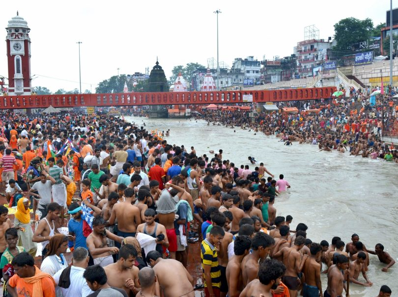 Kanwariyas at Har Ki Pauri in Haridwar