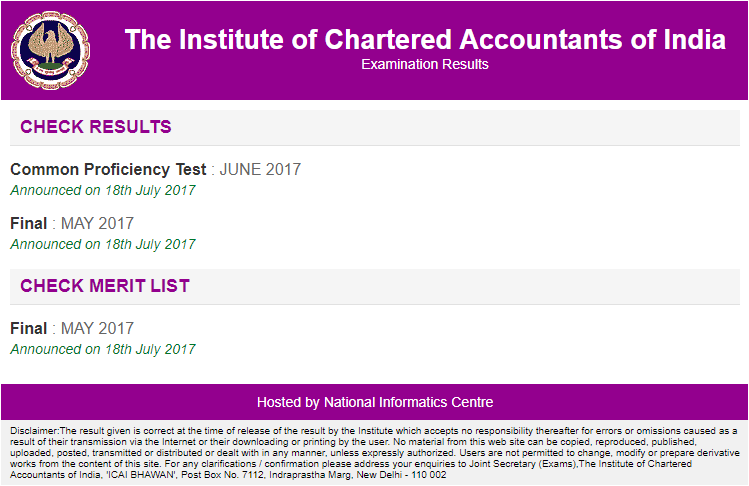 ICAI CPT Result June 2017 is declared at icaiexam.icai.org