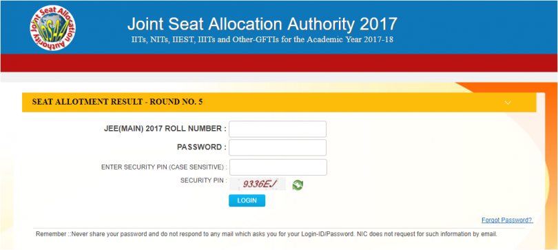 JoSAA 2017 Round 5 seat allotment is now available at josaa.nic.in