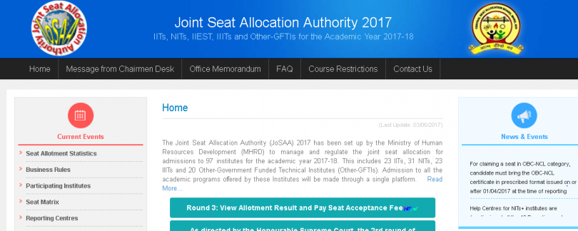 JoSAA 2017 third seat allotment result declared at josaa.nic.in