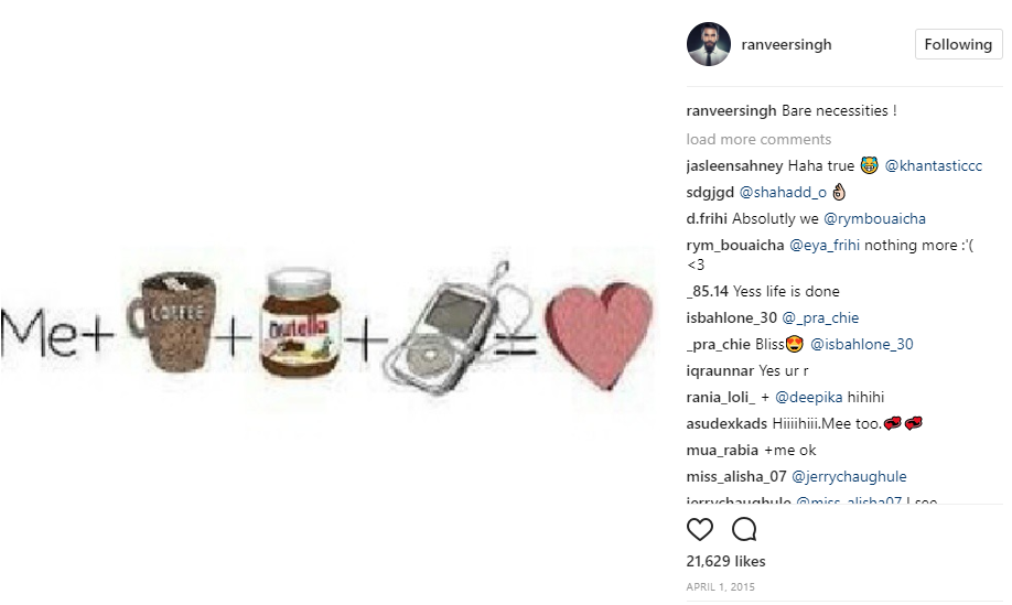 Ranveer loves coffee and Nutella