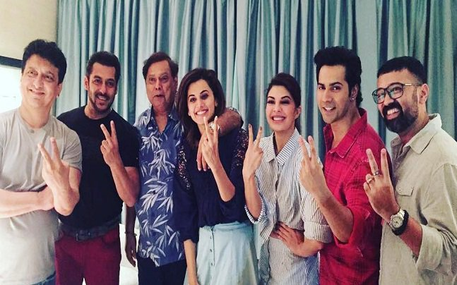 Salman Khan shoots for Varun Dhawan's Judwaa 2 leaves the young actor thrilled