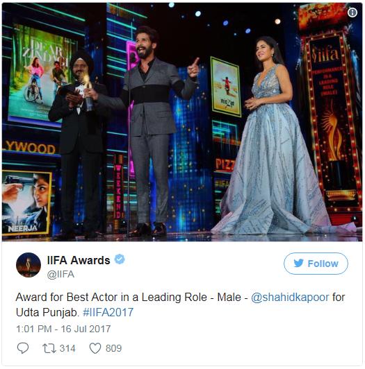 18th iifa awards 2017 Best Actor Male Shahid Kapoor for Udta Punjab
