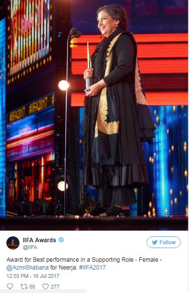 18th IIFA awards 2017 Best Supporting FemaleShabana Azmi for Neerja