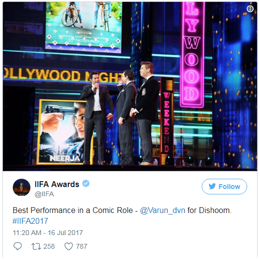 IIFA Awards 2017 best performance in Comic role