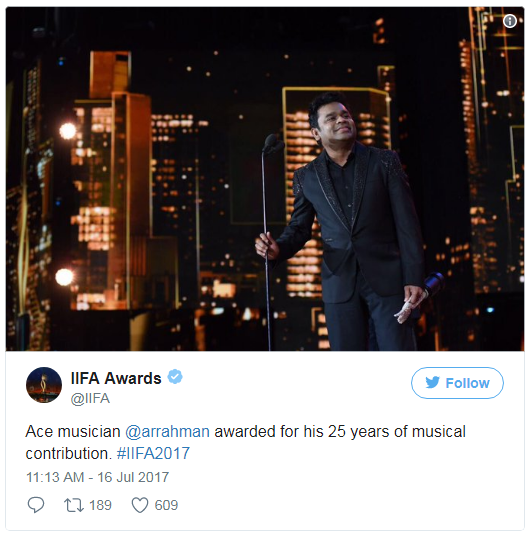 In 18th IIFA Awards 2017 Legend AR Rahman awarded as a ACE musician for his 25 years of musical contribution