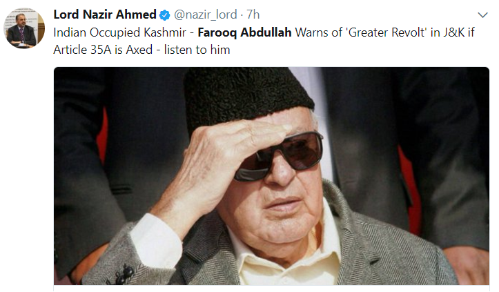 Farooq Abdullah Article 35 A