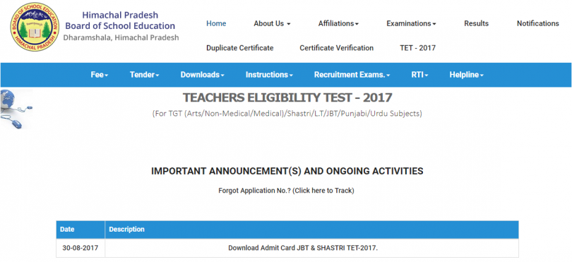 HP TET 2017 admit card released at www.hpbose.org