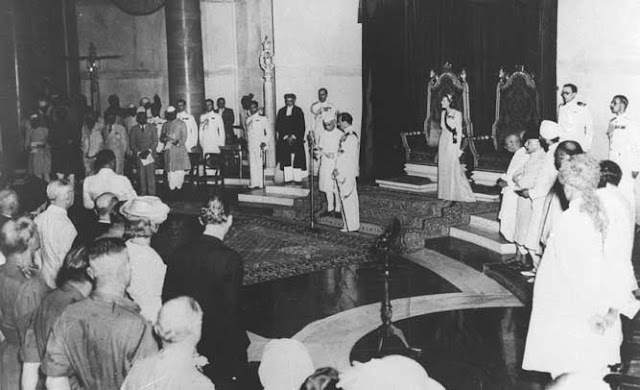 Jawaharlal Nehru became first Prime Minister of India. Look at the still where he addressing the assembly with his `tryst with destiny' speech just before the Independence day on the midnight of 14th August.