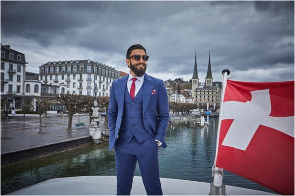 Ranveer Singh shares this breathtaking look with his Instagram fans during his Switzerland tour. He is looking fantastic in this blue draped up suit. Ranveer Singh become a brand ambassador of the Switzerland Tourism for India and came up with a campaign of this year called 'InLoveWithSwitzerland'.
