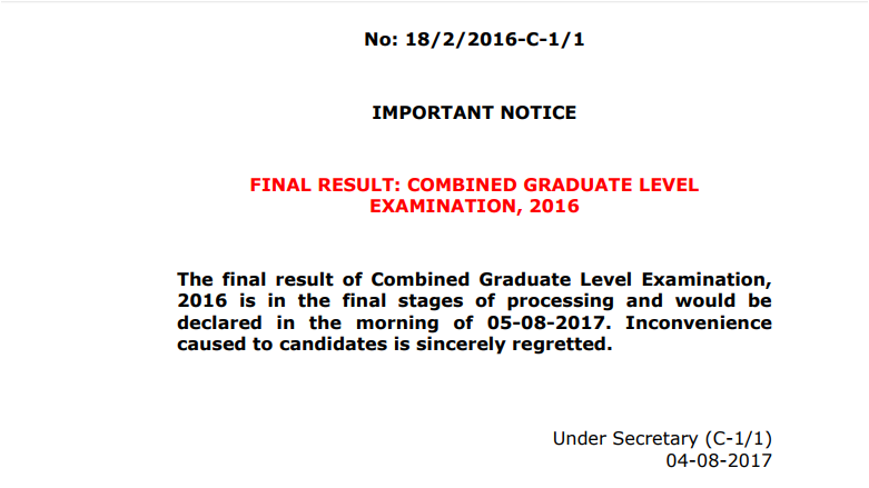 SSC CGL 2016 final result declared