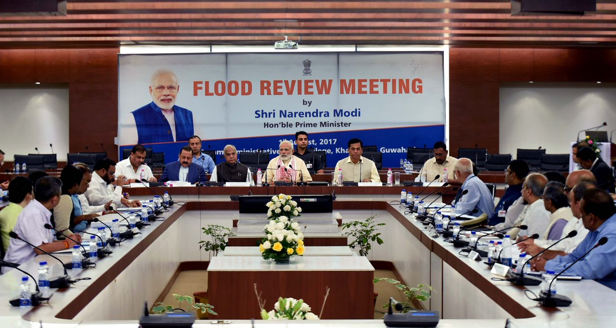 PM Modi visited Assam to review flood situation and the damage cause in the state
