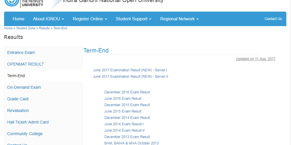 IGNOU June Result 2017: June 1st term end exam result declared on ignou.ac.in