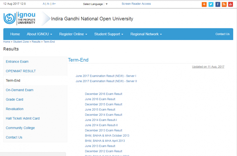 IGNOU June Term End Examination Result 2017 declared, check ignou.ac.in