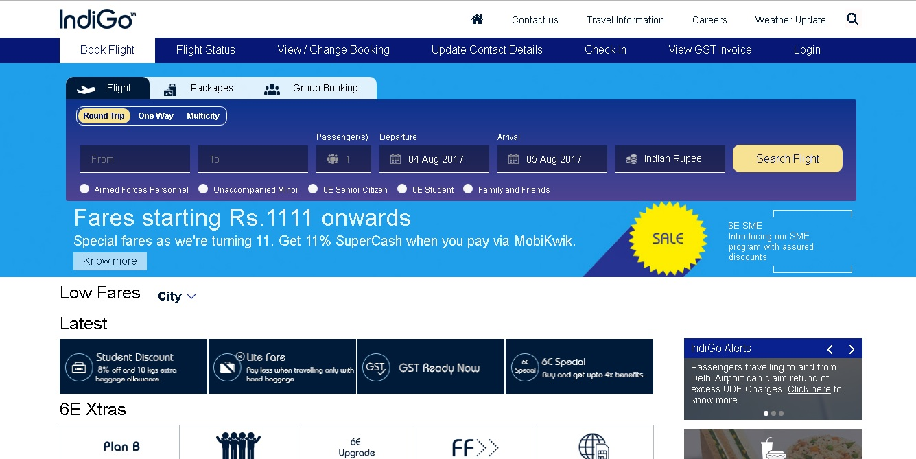 Indigo airlines offers fare starting from 1111 and 11% super cash till 6 August