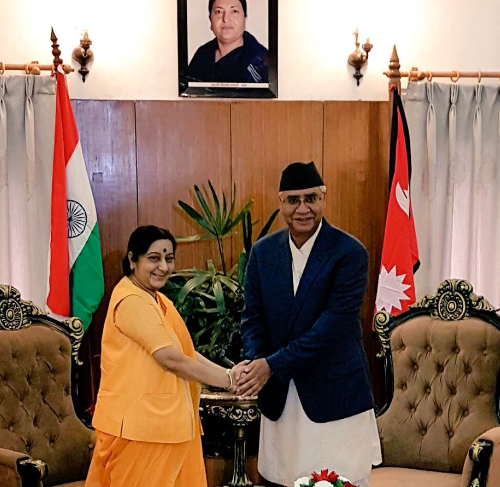 Sushma Swaraj Nepal Visit: meets Prime minster Deuba , discuss on bilateral issues