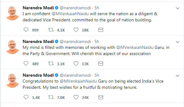 venkaya naidu vice president of india. modi tweet