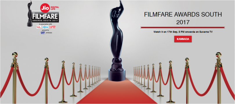 Jio Filmfare South Award 2017 to be telecasted on Survana TV at 5 pm