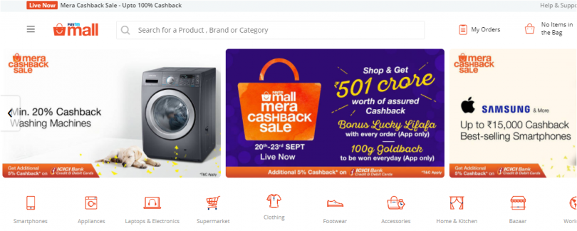 Paytm mall 'Mera Cashback' sale offers up to 15,000 starts from today