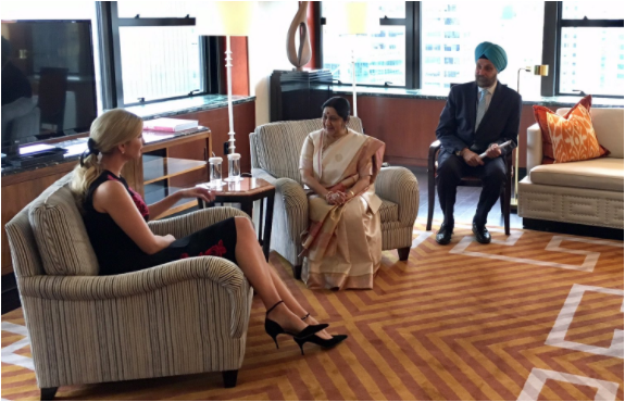Sushma Swaraj hold talks between India, Japan and US counterparts also met Ivanka Trump at UNGA