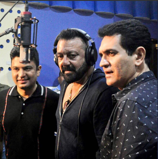 Sanjay Dutt, the main lead of the movie Bhoomi is being clicked at the studios with the director Omung Kumar where he is seen recording a Ganesh Aarti from his movie