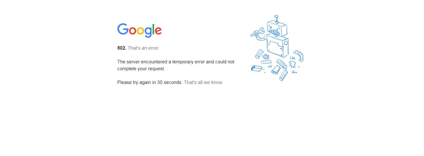 Google's video platform and Gmail goes Down with 502 Server Error