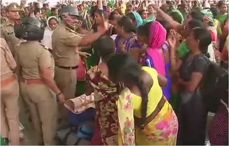 Anganwadi workers stage protest at GPO for wages hike demand; Police cane-charged in Lucknow
