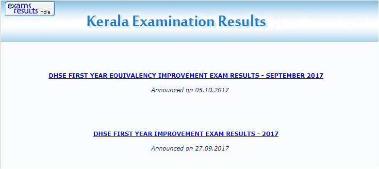 DHSE First Year Equivalency Improvement Exam Results 2017 declared at keralaresults.nic.in