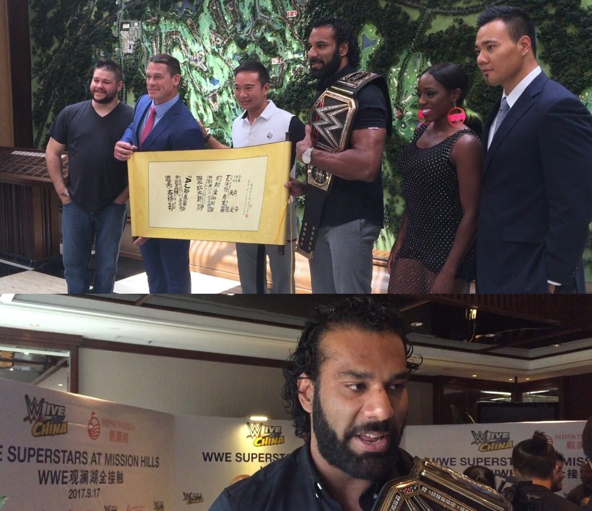 Sachin Tendulkar, Arjun meet WWE Champion Jinder Mahal at their Mumbai residence