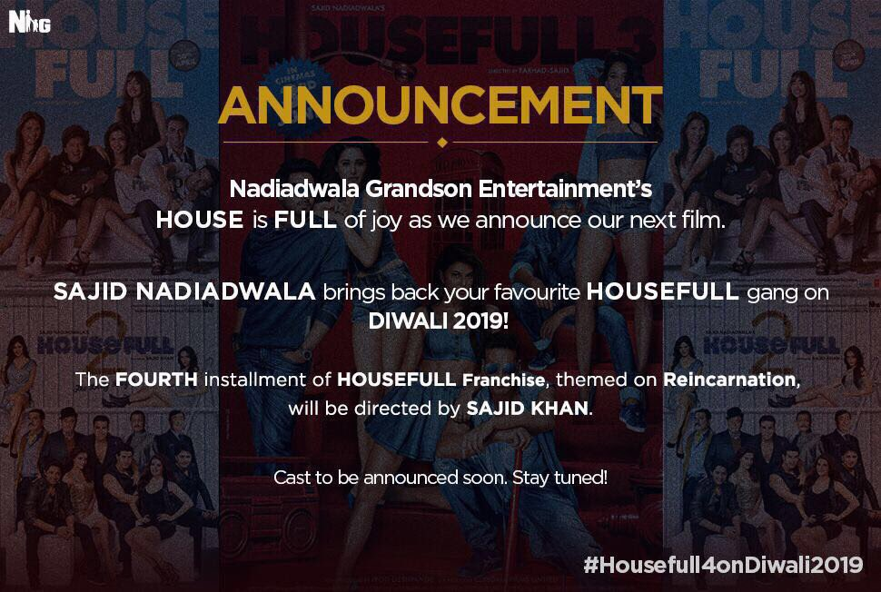 Sajid Nadiadwala's Housefull 4 to release on Diwali 2019