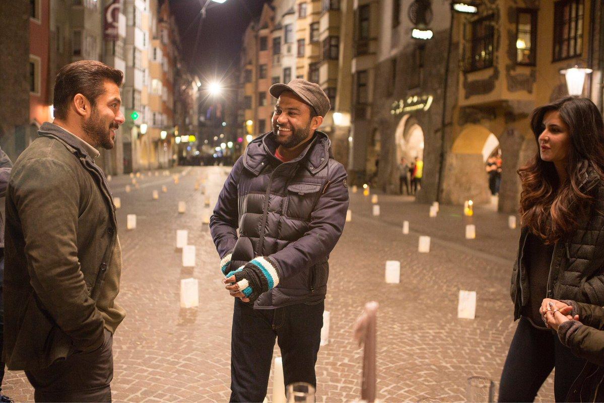 Salman Khan and Katrina Kaif on the set of Tiger ZInda Hai