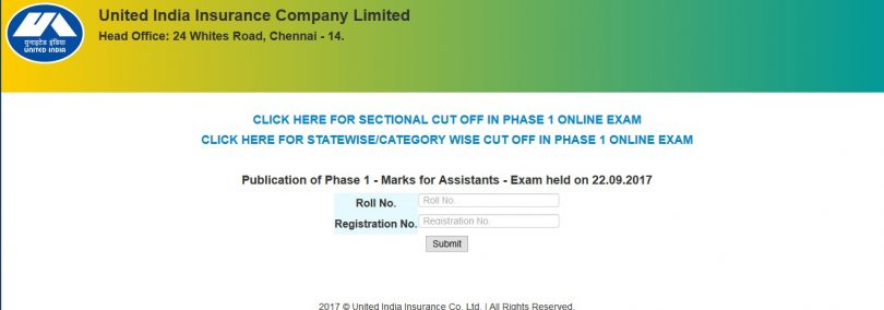UIIC Phase 1 Examination Results for Post of Assistants recruitment declared on uiic.co.in