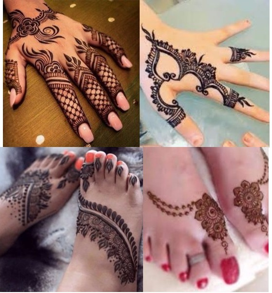 Minimalist Persian mehndi: Mehndi have many traditional design minimalist Persian is one of them are in tend in Indian mehndi design. Minimalist Persian pattern mehndi is for back side of hand. Ring chain enhance its beauty.