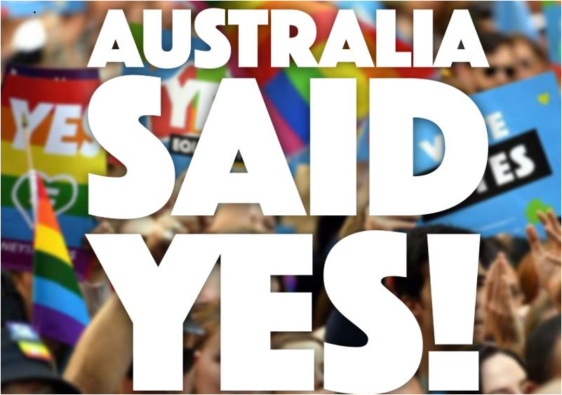 Australia same-sex marriage affirmed with 61.6% votes; Yes to marriage equality