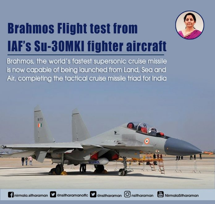 BrahMos missile successfully test fired at sea-based target from Sukhoi fighter jet