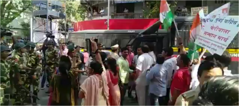 MNS and Congress workers clash erupts over hawker eviction at Dadar in Mumbai