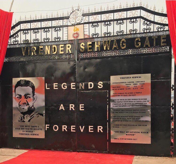 Virender Sehwag felt honoured to have gate name after him at Kotla stadium