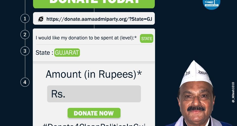 Clean Politics: AAP appeals for donation for Gujarat assembly elections 2017