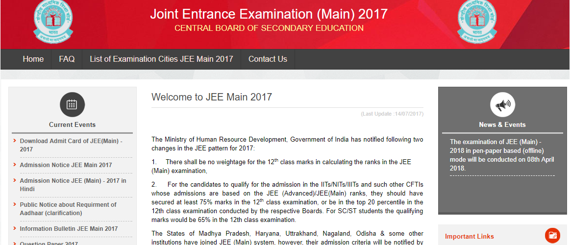 JEE Mains 2018 application form, eligibility, exam dates and syllabus available at jeemain.nic.in