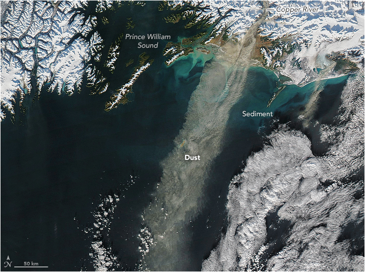 NASA satellite captures wind-blown along the Gulf of Alaska; Scientist believes nutrient-bearing storms