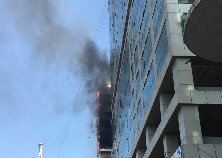 Blazing Fire engulfs Arunachal Bhawan near Vashi railway station in Navi Mumbai