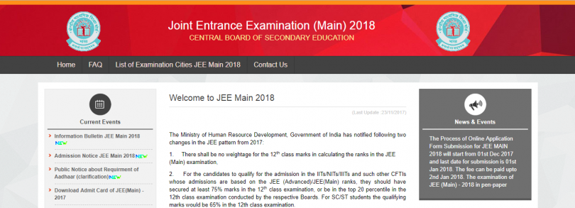 JEE Main 2018: Registration to begin from December 1