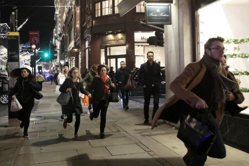 London's Oxford Circus area Chose due to Altercation between two Men